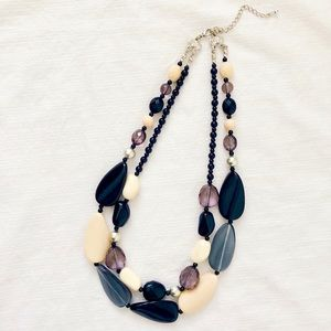 3/$25 Black Cream Layered Bead Statement Necklace